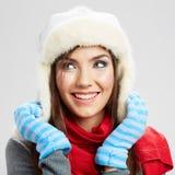 Schließen Sie herauf Mädchengesicht Getrennt auf Weiß Weibliches junges Baumuster Stockfoto