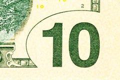 Schließen Sie herauf Makrodetail von Dollargeldbanknoten Stockbild