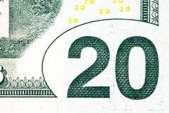 Schließen Sie herauf Makrodetail von Dollargeldbanknoten Lizenzfreie Stockbilder