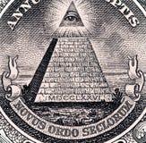 Schließen Sie herauf Makrodetail von Dollargeldbanknoten getont Stockfotografie
