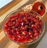 Schließen Sie herauf Makroschuß der Granatapfelstartwerte für zufallsgenerator Lizenzfreie Stockfotos