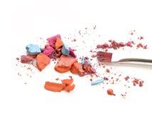 Schließen Sie herauf Mischfarben bilden mit Bürste lizenzfreies stockfoto