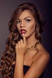Schließen Sie herauf Modeporträt Make-up und Frisur stockfotos
