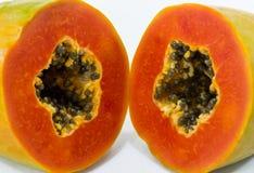 Schließen Sie herauf neue Papayascheibe Lizenzfreie Stockfotografie