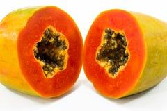 Schließen Sie herauf Papayascheibe Stockfoto