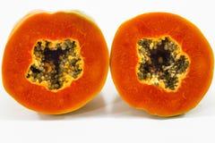 Schließen Sie herauf Papayascheibe Stockfotografie