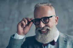 Schließen Sie herauf Porträt des netten leutseligen stilvollen modischen reichen intell stockbilder