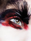 Schließen Sie herauf Porträt des schönen jungen Modells mit den rosa Lippen und MA Lizenzfreie Stockbilder