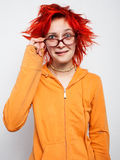 Schließen Sie herauf Porträt eines verrückten jungen redheaded Mädchens Lizenzfreie Stockfotografie
