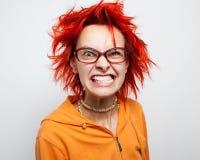 Schließen Sie herauf Porträt eines verrückten jungen redheaded Mädchens Lizenzfreie Stockbilder