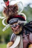 Schließen Sie herauf Porträt von Yali Mabel, der Leiter von Dani-Stamm stockfotografie