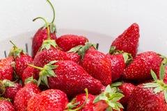 Schließen Sie herauf reife Erdbeere mit Wassertropfen des weißen Siebs lizenzfreie stockfotografie