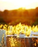 Schließen Sie herauf romantisches Abendessen Stockbild