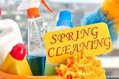 Schließen Sie herauf Satz für spring cleaning stockfotos