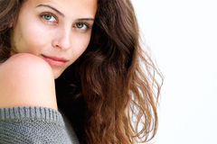 Schließen Sie herauf schönes weibliches Mode-Modell mit dem langen Haar Stockfotografie