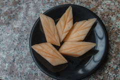 Schließen Sie herauf Scheibe der frischen Melone lizenzfreie stockfotos