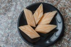 Schließen Sie herauf Scheibe der frischen Melone lizenzfreies stockfoto