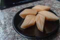 Schließen Sie herauf Scheibe der frischen Melone lizenzfreie stockfotografie