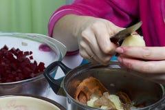 Schließen Sie herauf Schuß Russische Rezepte Kochen von Stadien Lizenzfreies Stockbild