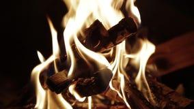 Schließen Sie herauf Schuss des brennenden Brennholzes im Kamin HD stock footage