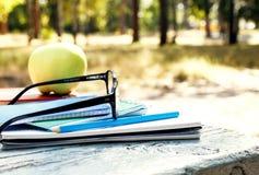 Schließen Sie herauf Stapelnotizbuch, -apfel, -bleistift und -gläser auf Bank Stockfotografie