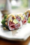 Schließen Sie herauf Sushi vom Thunfisch und vom Reis Lizenzfreie Stockfotografie