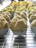 Schließen Sie herauf thailändischen gedämpften Schalenkuchen auf Stall Lizenzfreie Stockfotografie