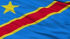 Schließen Sie herauf wellenartig bewegende Staatsflagge des Demokratischen Republiken Kongo stock footage