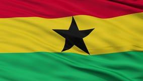 Schließen Sie herauf wellenartig bewegende Staatsflagge von Ghana stock footage