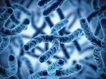 Schließen Sie herauf Wiedergabeillustration der Chromosomgruppe 3d stockfotos