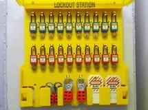 Schließen Sie heraus zu u. etikettieren Sie heraus, Ausrück-Station, Maschine - spezifische Ausrück-Geräte stockfotos