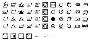 Schließen Sie internationale Wäscherei-Symbol-Ansammlung ab Lizenzfreie Stockbilder