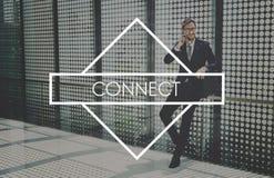 Schließen Sie Netz integriertes on-line-Netz-Konzept an stockfotografie