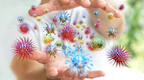 Schließen Sie oben auf einer Wiedergabe kranke des Mannhandübertragenden Virus 3D Stockbild