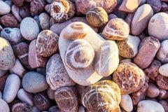 Schließen Sie oben auf schönen rosa und grauen gestreiften Steinen der verschiedenen Größen mit den Strahlen der Sonne, die auf s stockfotografie