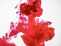 Schließen Sie oben auf Tröpfchen der roten Tinte im Wasser Bewegung der roten Tinte unter Wasser, ein abstrakter Hintergrund Rote Lizenzfreies Stockfoto