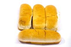 Schließen Sie oben auf vier Hot-Dog-Brötchen-Bedarfsfreunden Lizenzfreies Stockbild