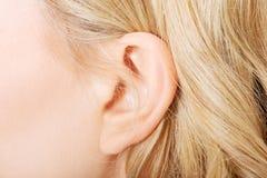 Schließen Sie oben auf weiblichem Ohr lizenzfreies stockbild