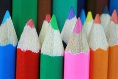 Schließen Sie oben in der Zeichenstift- oder Bleistiftfarbe Stockfoto