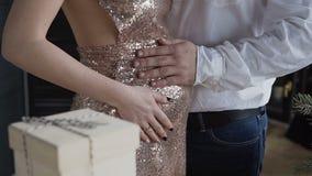 Schließen Sie oben, Hände des Ehemanns auf dem Bauch seiner schwangeren Frau Ehemann strich zart schwangeren Bauch seiner Frau ju stock video
