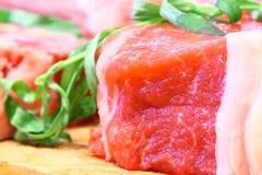 Schließen Sie oben mit Frischfleisch Stockfotos