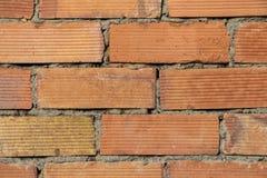 Schlie?en Sie oben vom alten Wand-Beschaffenheitshintergrund des roten Backsteins stockbilder