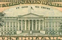 Schließen Sie oben vom Amerikaner-Dollarschein der Rückseite 100 Stockfoto