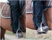 Schließen Sie oben vom aufgeladenen Fuß eines Cowboys auf seinem Pferd. Ein Bild eines Reiters auf einem braunen Pferd. Das Bein u Lizenzfreie Stockfotos