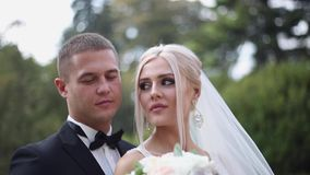 Schließen Sie oben vom Bräutigam und von der Braut Schöne Hochzeitspaare im Park Stilvolle Jungvermählten stock video