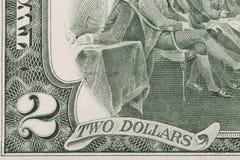 Schließen Sie oben vom 2 Dollarschein. Lizenzfreies Stockfoto