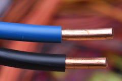 Schließen Sie oben vom elektrischen Draht stockbilder