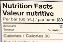 Schließen Sie oben vom Ernährungsinformations-Aufkleber lizenzfreies stockbild