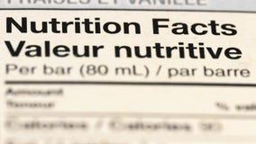 Schließen Sie oben vom Ernährungsinformations-Aufkleber stockbilder