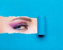 Schließen Sie oben vom Frauenauge mit rosa Make-up Stockfotos